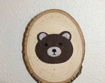 Rustic Felt Bear Face on Plaque