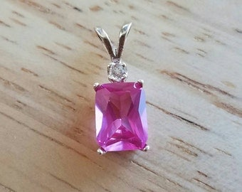 8x6 Radiant Cut Lab Grown Pink Sapphire and White Topaz Sterling Silver Pendant - Made to Order