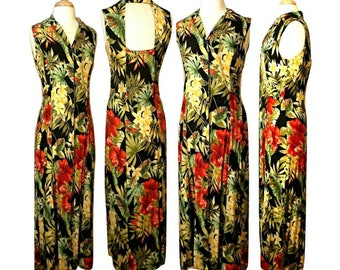 Women's Vintage Dress, Hawaiian dress, Maxi dress, long dress, Floral dress, Tropical dress, Tahitian dress, Aloha dress, Beach dress | 8-10