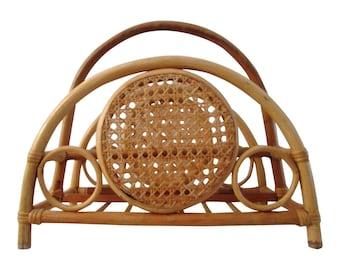 Midcentury Bamboo & Rattan Magazine Rack