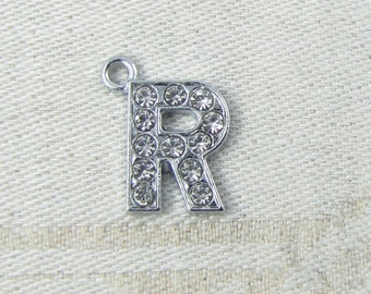 """Silver Rhinestone Letter """"R"""" Charms, 1 or 5 letters per package  ALF016r"""