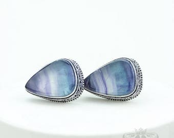 Healing Gemstone! FLUORITE Vintage Filigree Antique 925 Fine S0LID Sterling Silver Men's / Unisex CUFFLINKS k743