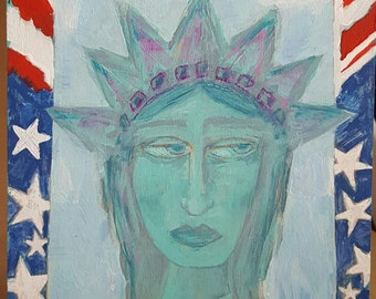 Lady Liberty Original Folk Art Painting on Wood Melissa Groening