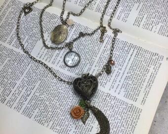 Locket Necklace-Triple Layer Pendant Necklace- Multi Chain Necklace-Multi Lockets-Handmade Necklace-Photo Locket- Magnifying Glass Pendant