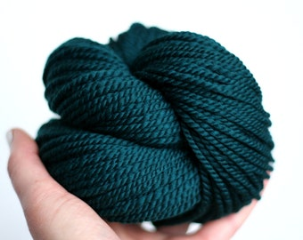"Handspun Yarn - ""Scotch Pine"" - Merino Wool Yarn - Dark Green Yarn - Bulky Yarn - Felicity Yarn"