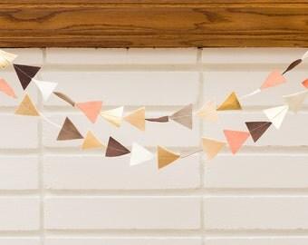 just peachy (triangle) -- felt garland // peach cream metallic gold brown, triangle garland, girl nursery, 1st birthday party, baby shower