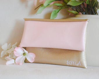 Rose monogrammed clutch - personalized leather purse - bridesmaid clutch - handbag - color block fold over clutch - gold bridal purse