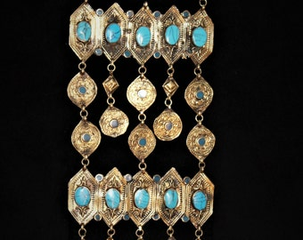 Handcrafted Turkmen Yomud Tribal Necklace with Turquoise Stones