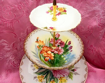 Vintage Tea Party, Floral Plates, Shabby Chic, Three Tier, 3 Tier Tray, Tiered Stand, Antique Plates, Server, Cake Stand, Tiered Server