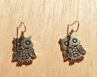 Owl Silver Colour Earrings