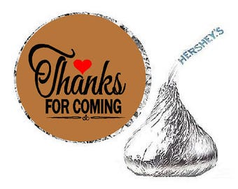 Thanks for Coming Brown Heart Party Favor Hershey Kisses Candy Stickers / Labels -216ct