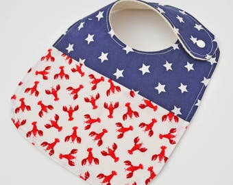 Nautical Baby Bib, Lobster Baby bib, Maine Baby, Made in Maine, Maine Lobster Bib, Nautical Baby Shower Gift// Lobsters and Star