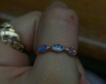 Genuine Opal Australian Opal 3 Stone Ring