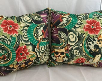 Traditional Japanese tattoo cushion cover