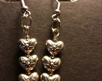 Silver heart trio earrings