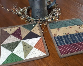 Patchwork Potholders / Potholders/ Quilted Pot Holders / Kitchen Potholders/ Country/ Primitive
