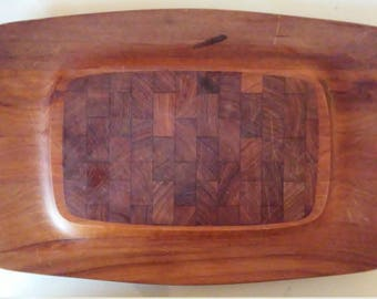 Dansk Designs Mid Century Modern Cheese Board Tray Teak Wood Jens Quistgaard Serving Platter