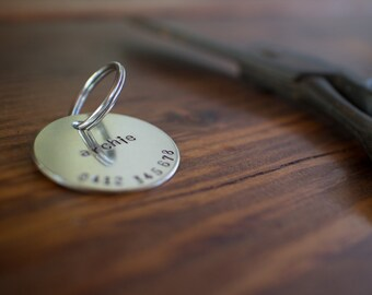 Lowercase Personalized Hand Stamped Silver Dog Tag // Custom Pet ID - Dog ID Tag - Dog Collar Name Tag - Cat ID Tag - Metal Pet Tag