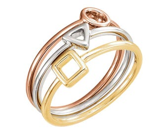 3 Geometric Stacking Rings ~ 14K Solid Gold