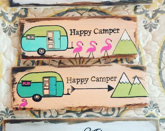 Happy camper wood sign //Made To Order //Camper Sign//Wood Camper Sign//Wood Camping Sign//Reclaimed Wood Sign//Customizable