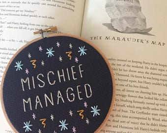 Mischief Managed Embroidery - Harry Potter - Prisoner of Azkaban - Marauder's Map - JK Rowling