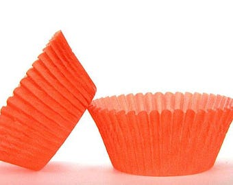 50pc Solid Orange Color Standard Size Cupcake Baking Cups Liners Wrappers
