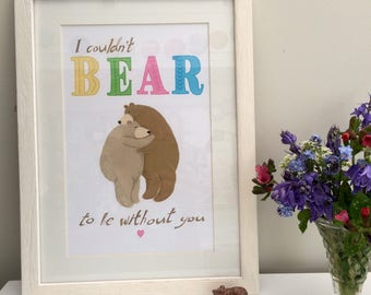I Couldn't Bear to Be Without You Printable Bear Hug Card or Print