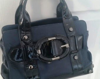 Designer purse, Black leather purse, shoulder bag, doctors bag , Kenneth Cole purse, leather purse, black purse. medium purse, hand bag,