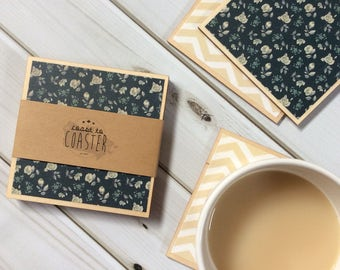 Rose Decor, Rose Coasters, Navy Coasters, Floral Coasters, Decorative Coasters, Navy Home Decor, Cream Home Decor, Coaster Set, Wood Coaster