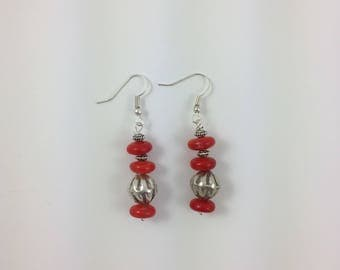 Coral & Silver Bead Earrings by Pottery Lovely