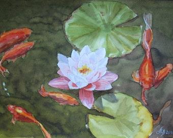 "Koi. Original watercolor painting Handmade 8 ""x12"" brocaded carp, Japanese carp, fish, lotus, pond, painting, art"