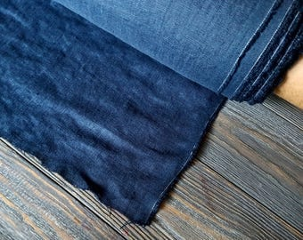 Dark blue linen fabric by the meter, washed natural linen cobalt blue fabric, prewashed stonewashed blue linen fabric by the yard 7oz