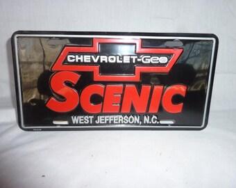 """Vintage Chevrolet """"SCENIC"""" West Jefferson, NC Dealer Plate"""