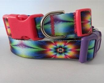 Dog Collar  - Girl Dog Collar - Tie Dye Flowers Collar - Large Dog Collar - Pink Purple Yellow Dog Tie Dye Dog Collar
