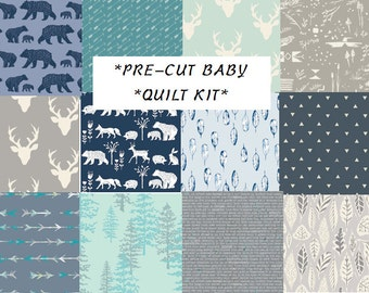 Baby Boy Quilt Kit, Modern Rustic Woodland Nursery Quilting Cotton, Pre-Cut Quilting Squares, Bear, Teepees, Antlers, Elk, Navy Blue, Gray