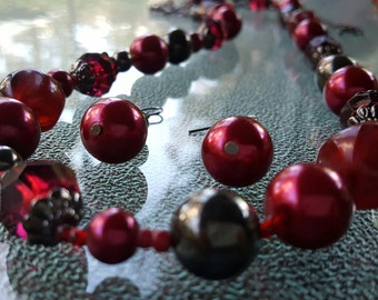"Vintage Ruby Red Faceted Glass, Lucite & Gunmetal Beaded 38"" Necklace and Earrings Set ~Cranberry Ruby ~ Romantic, Gothic and High End Look!"