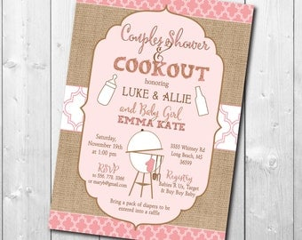 Couples Baby Shower Invitation printable/pink, girl, burlap, fall, baby q, cookout,/digital file/wording can be changed