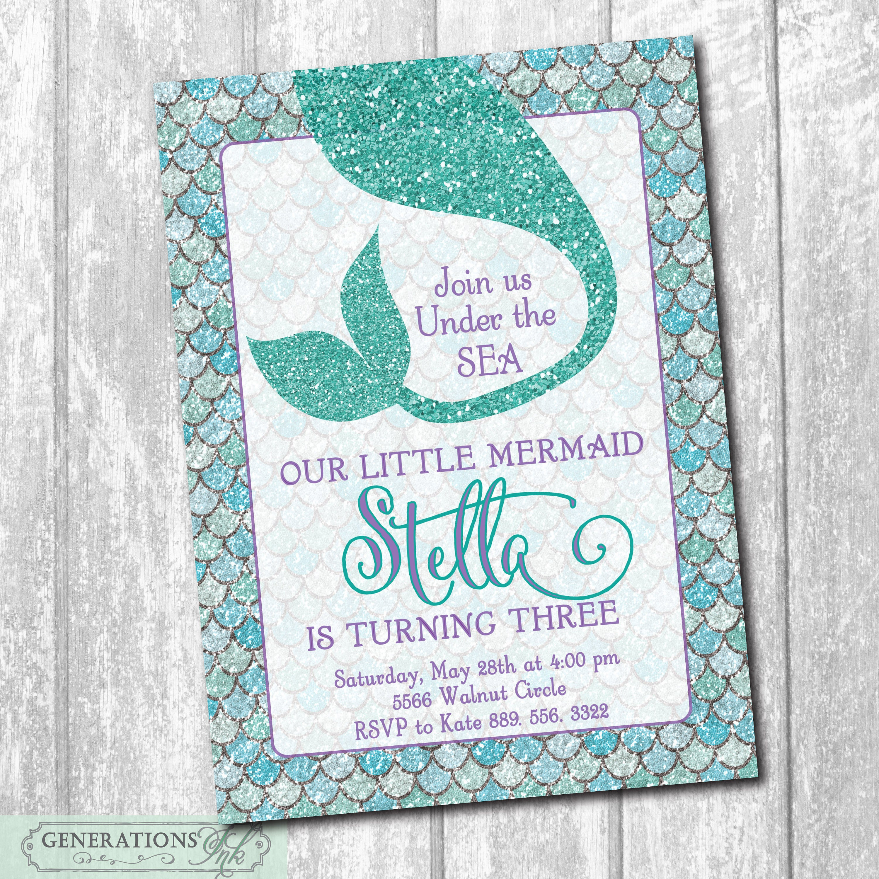 Mermaid Birthday Party Invitation...Under the Sea../DIGITAL FILE ...