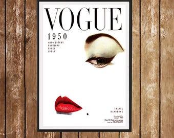Vogue Cover Print 1950 - Vintage Fashion Illustration Vogue Poster Fashion Vogue Print Feminin Fashion Gift Idea BUY 2 GET 1 FREE