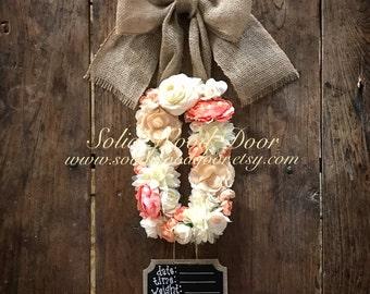 Custom Floral Letter Hospital Door Hanger, Flower Initial door hanger, Door Hanger, Nursey Decor, Peach Baby Shower Wreath, Baby Stat Hanger
