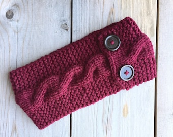 Knitted Cable Headband with Chestnut Buttons in Burgundy