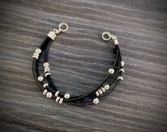 bracelet black leather cord and sterling silver beads silver 925