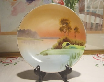 Nippon Landscape Plate Vintage 1920's Gold Gilt Hand Painted River Hut Porcelain Japan Cabinet Plate Collectible Replacement Plate