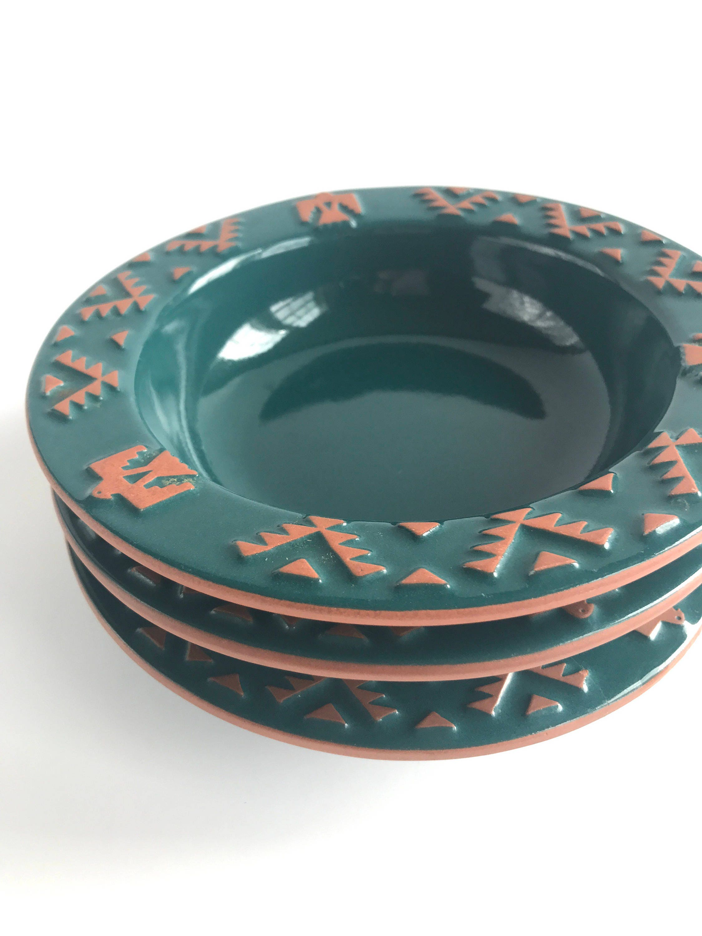 Vintage Frankoma Native American Teal Bowls Set of 3, 3 Discontinued ...