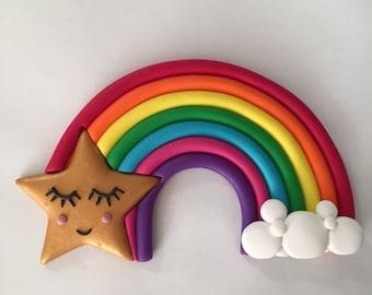 Gold/Silver star rainbow cake topper or nursery decor