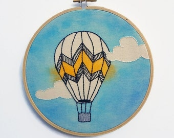 Hot Air Balloon Hand Embroidery Hoop Art Water Colored White Fabric 16 Cm
