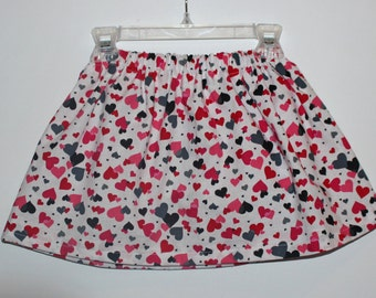 Valentine's Skirt, Pink, Red and gray Hearts, Hearts Skirt, Valentine's Day Skirt, Baby Girl Valentine's Outfit, Girls Valentines Day