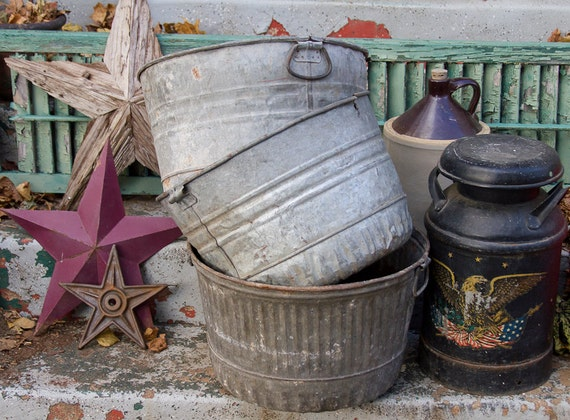 3 vintage large galvanized wash tubs metal wash pot bucket for Large metal wash tub