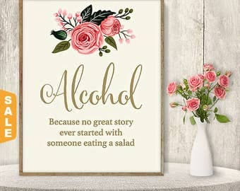 Sale - Alcohol Not Salad Sign / Funny Wedding Alcohol Sign DIY / Watercolor Flower Poster Printable / Gold Calligraphy, Pink Rose ▷Instant D