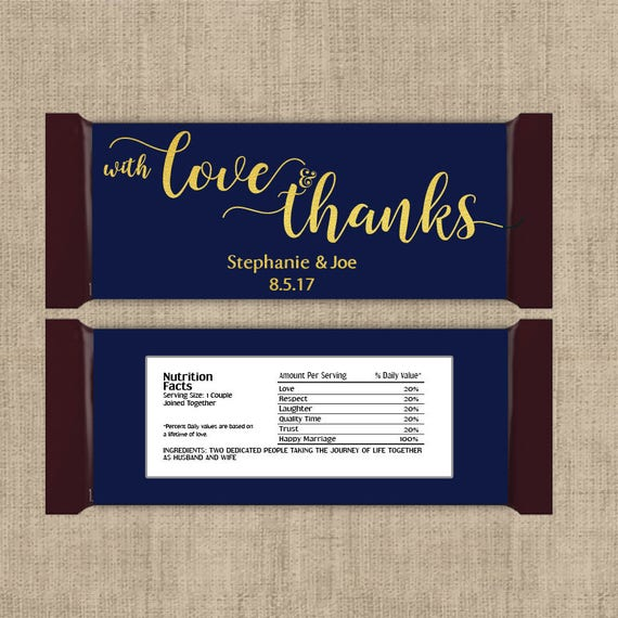 12 Large Personalized With Love And Thanks Hershey Candy Bar